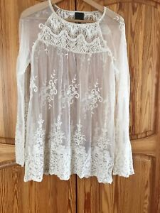 Ane Mone Ivory Lace Long Sleeve Sheer Top Blouse Size 10 (38)