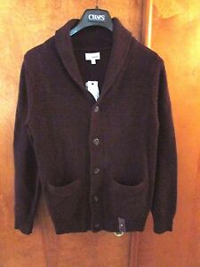 "Men's ""Sonoma"" Size S, Dk Brick H, Shawl Collar, Chunky Cardigan Sweater"