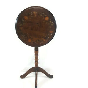 Heirloom Maple Hitchcock Style Decorated Candle Pedestal Side Flip Top Table