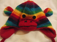 Delux Knit Elmer Fudd Style Monkey Hat with Earflaps Young Child one size
