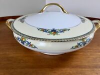Japan China Covered Serving Dish/ Bowl Round ~ Fruits In Urns ~ Blue Green Red