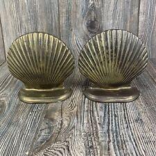 Vintage Brass Sea Shell Book Ends Nautical Beach Decor