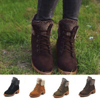 Womens Lace-up Cotton Martin Boots Round Toe Platform Shoes Thicken Warm Booties