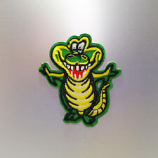 Smiling Crocodile Patch — Iron On Badge Embroidered Motif — Alligator Smile Cute