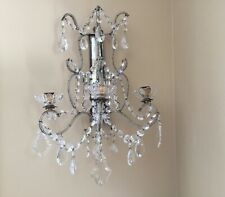 SINGLE Antique French Crystal Beaded Candelabra Wall Sconce Mirror ITALIAN