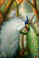 """Handmade Animals Two Peacock Oil painting art on canvas 24""""x36"""" inches M2"""