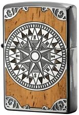 New Zippo Lighter Antique Compass Silver x Wood 1201S558 Double side design