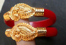 Indian 22K Gold Plated Front 2 Bangles Bracelet Bengali Pola 1/2'' Broad 2.8''.