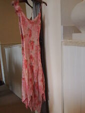 Illustrateur Betsey Johnson asymétrique rose Rose Pastel Floral Summer Dress Sz 10-12