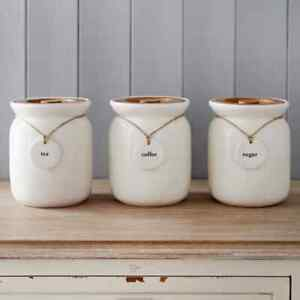 Set of 3 Tea/Coffee/Sugar Canisters with Wooden Lid Storage Jars-Kitchen Decor
