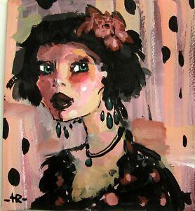 Original gouache PORTRAIT GIRL design illustration wall art decor Tania