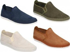 Flossy VENDAVAL Mens Perforated Slip On Plimsolls Trainers Shoes Various Colours