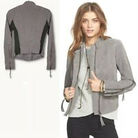 Free People Womens High Neck Gray Full Zip Faux Leather Knit Moto Jacket Size 2