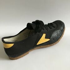 Bata Biker Cycling Shoes Mens 6.5 Black Yellow Canvas Touring 70s 80s Sneaker