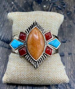Barse Imagination Cuff Bracelet- Mixed Stones- Hammered Bronze- NWT