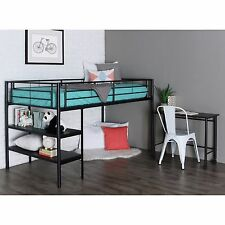 New Metal Twin Low Loft Bed with Desk in Black