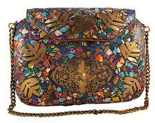 Woman Fashion Indian Handmade Mosaic Metal Purse Clutch Sling bag Multi color
