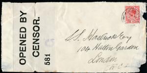 GIBRALTAR (25478): 1918 censor cover front plus flap