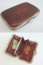 Antique Edwardian Coin Purse - Brown Leather & Engraved Steel Framed c1910