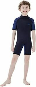 Dark Lightning Kids 2mm Neoprene Shorty Wetsuit - Black & Blue - Size 10