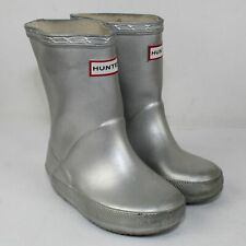 Hunter Toddlers Silver Rubber Rain Boots Size 7