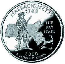 2000 S SILVER GEM PROOF MASSACHUSETTS STATE QUARTER 90% SILVER