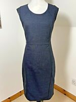 Next Size 10 Shift Dress Black Blue Sheath Fitted Cap Sleeve VGC Knee Length
