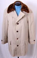 Great Western By GlenEagles Vtg sherpa Beige Faux Fur Lined Trench Coat Men's 42