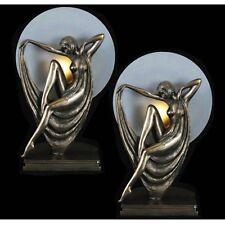 Art Deco/nouveau Table Lamp 39cm Celia Polystone Figurine Glass Shade Bulb