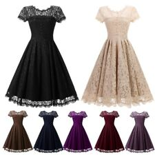 UK New Womens Vintage Lace Rockabilly 1950s Retro Party Evening Prom Swing Dress