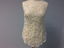 Jane Norman Cream Top - Lacy - Sleeveless - Size 10