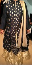 Indo Western Designer Dress Gown Blue and Gold Brand New Asian Modern Lengha