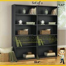 5-Shelf Bookcase Set of 2 Furniture Bookshelf Adjustable Storage Decor Black