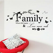 Family Letter Quote Removable Vinyl Decal Art Mural DIY Home Wall Stickers SA