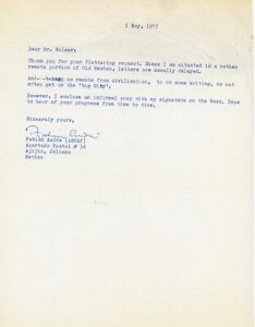 Fabian Andre - Composer/Dream a Little Dream of Me/1957 Typed Note Signed