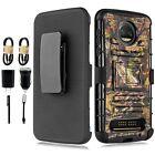 Bundle+ Motorola Moto Z2 Force Armor Protective Holster Belt Clip Kickstand Case