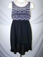 Candie's Black White Asymmetrical Sleeveless Dress Juniors Size Large 11 13