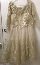 CHI CHI LONDON tea length Gilded Grace Lace wedding dress vintage gold midi Plus
