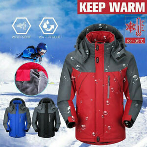 Men's Winter Thick Warm Jacket Ski Windproof Hooded Coat Outdoor