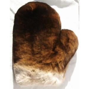 Fur Glove Rex Wellness Massage Castor Streichel Fur Rabbit Natural Dark Braun
