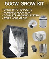 600w Grow Tent Kit, (600w hps light kit, Extraction kit, intake fan, Hangers etc