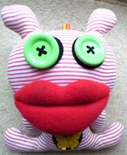 Mutant doll ugly doll fabric doll red stripes button eyes