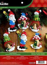 Bucilla Gnome Santa ~ 6 Pce. Felt Christmas Ornament Kit #86557 Frog, Mushrooms