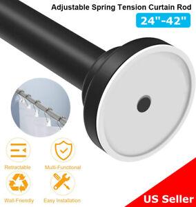 "Adjustable Spring Tension Curtain Rod 24""-42"" No Drilling Closet Rod,Matte Black"