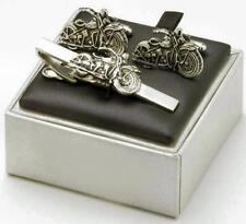 Classic Motor Bike Tie Bar & Cufflinks Cuff Links 5248
