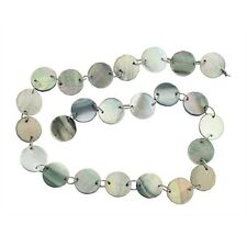 """BLACK MOTHER OF PEARL 14MM FLAT ROUND BEADS 16"""" ST  mop"""