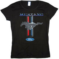 Ladies size Ford Mustang design t-shirt tee shirt pony tri bar red blue black
