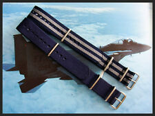 Blue-Grey NATO G10 Military watch strap 2 pak RAF Bonded IW SUISSE 18 20 22 24