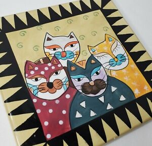 Vintage Cat Art Tile Trivet Cats Handpainted Yellow Black Green 7x7