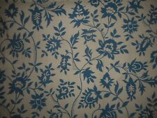 Vintage French Provencial Vining Indienne Floral Linen Metis Fabric~Indigo Blue